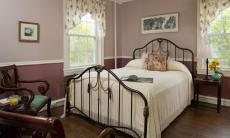 Queen bed with infrared fireplace